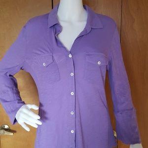 James Perse Sheer Slub Side Panel Shirt XL